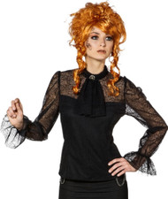 Ladies Deluxe Black Lace Steampunk Fancy Dress Blouse