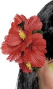Ladies Red Tropical Flower Fancy Dress Hair Accessory