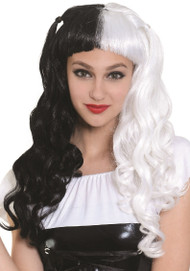 Ladies Black & White Fancy Dress Wig