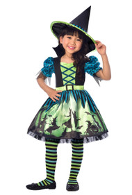 Girls Hocus Pocus Witch Fancy Dress Costume