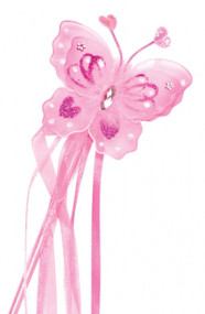 Girls Pink Princess Butterfly Fairy Wand