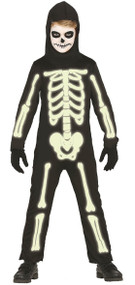 Childs Glow In The Dark Skeleton Fancy Dress Costume