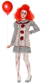 Ladies Vintage Horror Clown Fancy Dress Costume
