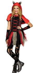 Girls  Edgy Red Hood Fancy Dress Costume