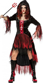 Ladies Hooded Devil Witch Fancy Dress Costume