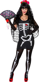 Ladies Sexy Skeleton Bride Fancy Dress Costume