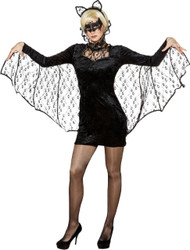 Ladies Sexy Lace Vampire Bat Fancy Dress Costume