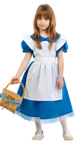 Girls Blue Goldilocks Fancy Dress Costume