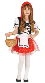 Girls Sparkle Red Riding Hood Fancy Dress Costume
