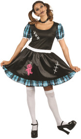 Ladies Blue Voodoo Doll Fancy Dress Costume
