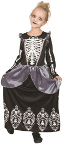 Girls Skeleton Royalty Fancy Dress Costume