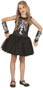 Girls Diamond Skeleton Tutu Fancy Dress Costume