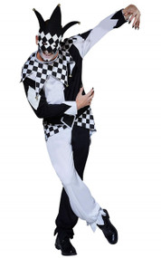 Mens Evil Dark Jester Fancy Dress Costume