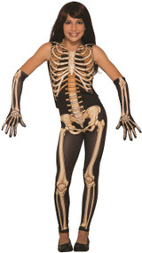 Girls Skeleton Fancy Dress Costume