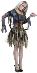 Ladies Skeleton Zombie Fancy Dress Costume