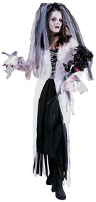 Ladies White Skeleton Bride Fancy Dress Costume