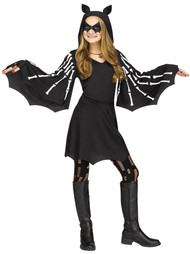 Girls Skeleton Bat Fancy Dress Costume