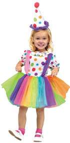 Girls Big Top Cute Clown Fancy Dress Costume