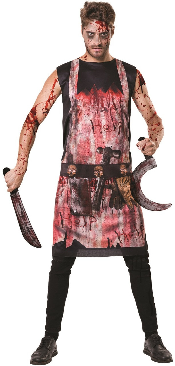 Adult Halloween Bloody Butcher Apron Fancy Dress One Size Costume