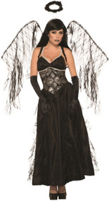 Ladies Long Fallen Angel Fancy Dress Costume