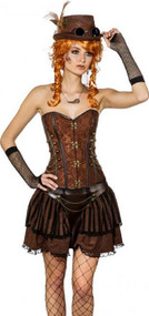 Ladies Brown Steampunk Fancy Dress Corset