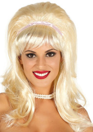 Ladies Blonde 60's Fancy Dress Wig