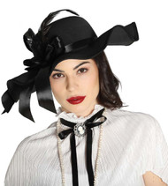 Ladies Black Vintage 1940s Fancy Dress Hat