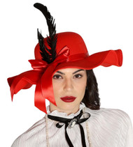 Ladies Red Vintage 1940s Fancy Dress Hat