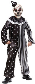 Boys Striped Killer Clown Fancy Dress Costume