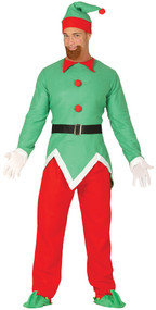 Mens North Pole Elf Fancy Dress Costume
