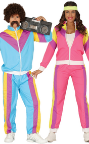 Couples Retro Tracksuits Fancy Dress Costumes
