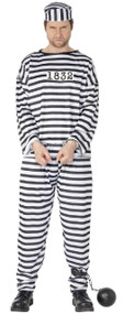 Mens Stripy Prisoner Fancy Dress Costume