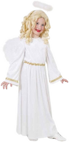 Girls Gold Angel Gabriel Fancy Dress Costume