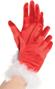 Ladies Mrs Claus Fancy Dress Gloves