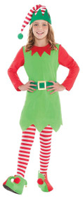 Girls Christmas Elf Fancy Dress Costume