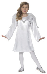 Girls White Angel Fancy Dress Costume