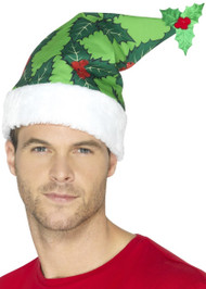 Adults Christmas Holly Fancy Dress Hat