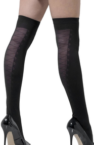 Ladies Burlesque Lace Up Stockings