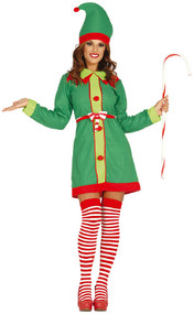Ladies North Pole Elf Fancy Dress Costume
