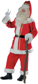 Mens Deluxe Gold Trim Santa Fancy Dress Costume
