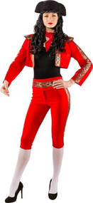 Ladies Deluxe Red Matador Fancy Dress Costume