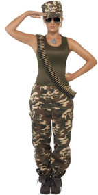 Ladies Deluxe Army Babe Fancy Dress Costume