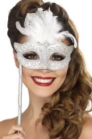 Ladies Winter White Masquerade Mask