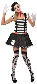 Ladies French Mime Fancy Dress Costume
