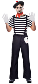 Mens French Mime Fancy Dress Costume