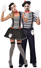 Couples French Mime Fancy Dress Costumes