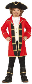 Boys Red Pirate Captain Fancy Dress Costume