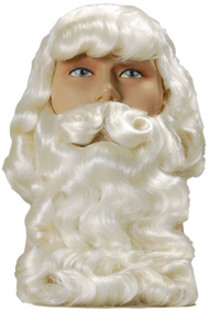 Mens Deluxe Santa Fancy Dress Wig & Beard