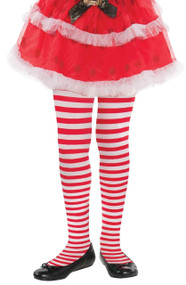 Girls Candy Cane Fancy Dress Tights