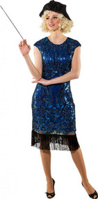 Ladies Longer Blue Flapper Fancy Dress Costume